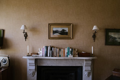 Some good books on the bedroom mantlepiece