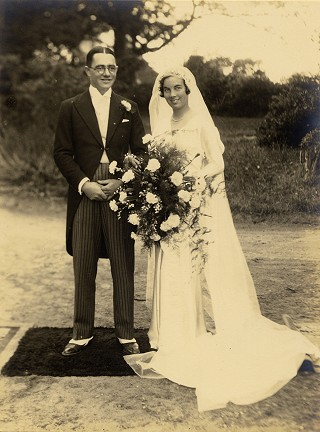 'Squirrel' & Joyce Green on their Wedding day in 1933