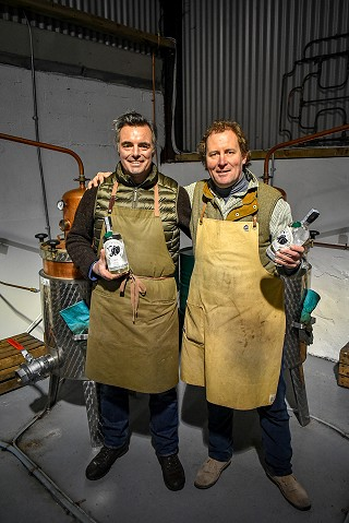 Justin & Anthony in the gin distillery at Ballyvolane