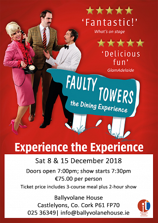 Faulty Towers returns to Ballyvolane House this December