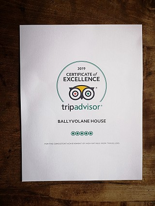 Tripadvisor Certificate of Excellence for Ballyvolane House