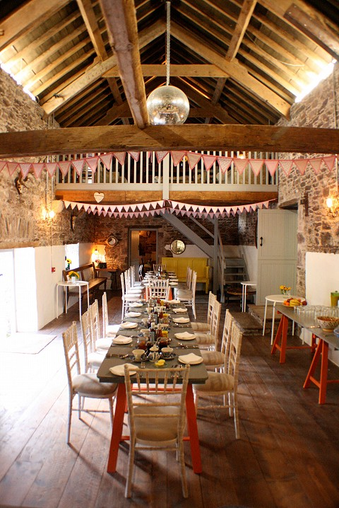 Dining in the rustic stone barn