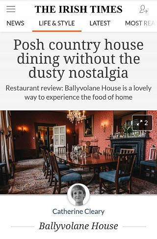Irish Times Review by Catherine Cleary of Ballyvolane House